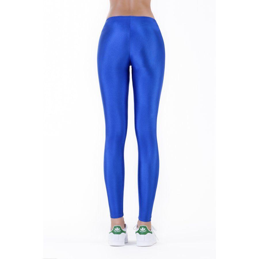Electric blue shiny leggings